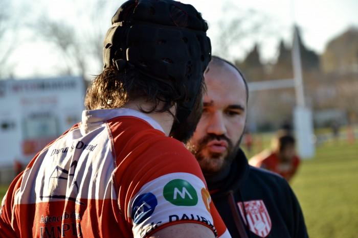 Rugby LSC - Dernières consignes de Christophe à Tom avant son entrée en jeu