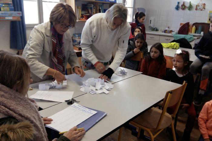 Conseil municipal d'enfants lombez - Dépouillement des votes par Christine Beyria et Guy Riège sous l'oeil du superviseur Alice Reygade et des enfants. Crédit photo : DR