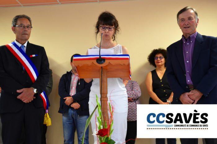 Inauguration mairie Pellefigue - juillet 2019-8 - La fille d'Alain Sancerry rend hommage aux deux décorés : son père Alain et le conseiller André Loubens.