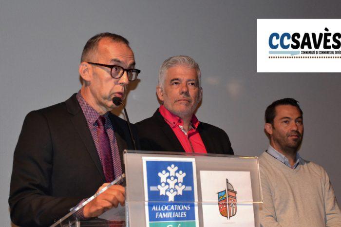Journée RAM du Gers - septembre 2019-6 - Hervé Lefebvre, président de la Communauté de communes, Thierry Saint-Luc, président de la CAF 32 et Jean-Pierre Cot, conseiller départemental